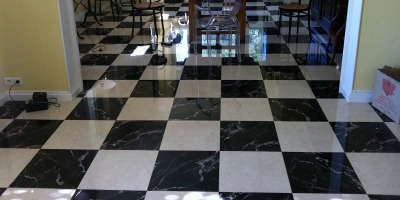 poncage marbre noir et blanc